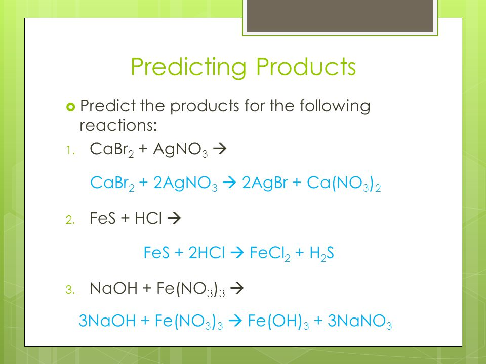 Predicting Products Predict the products for the following reactions: