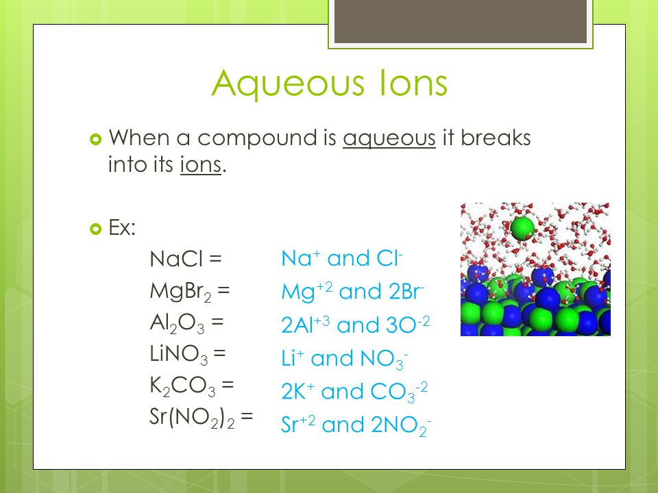 Aqueous Ions When a compound is aqueous it breaks into its ions. Ex: