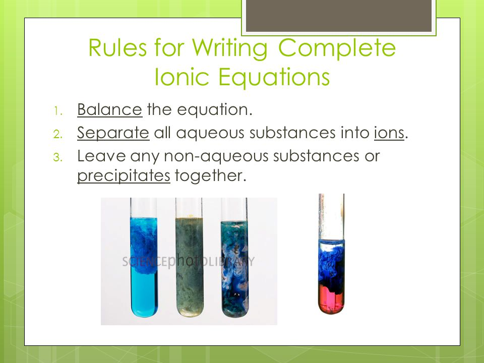 Rules for Writing Complete Ionic Equations