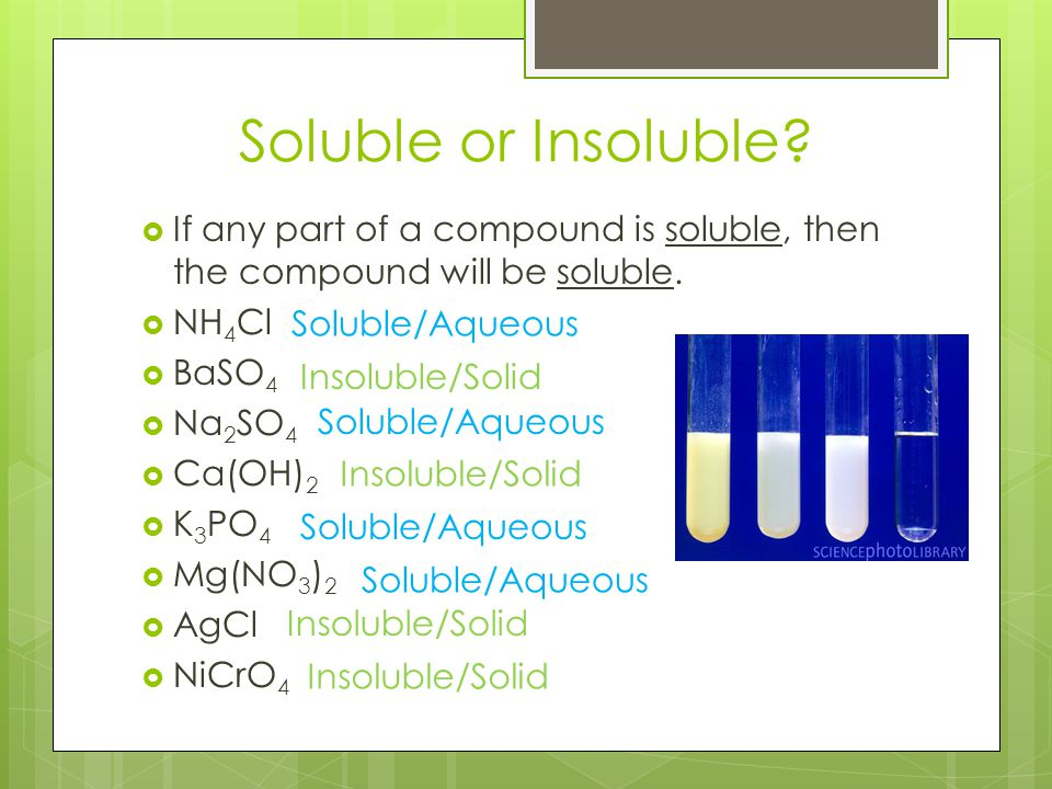 Soluble or Insoluble If any part of a compound is soluble, then the compound will be soluble. NH4Cl.