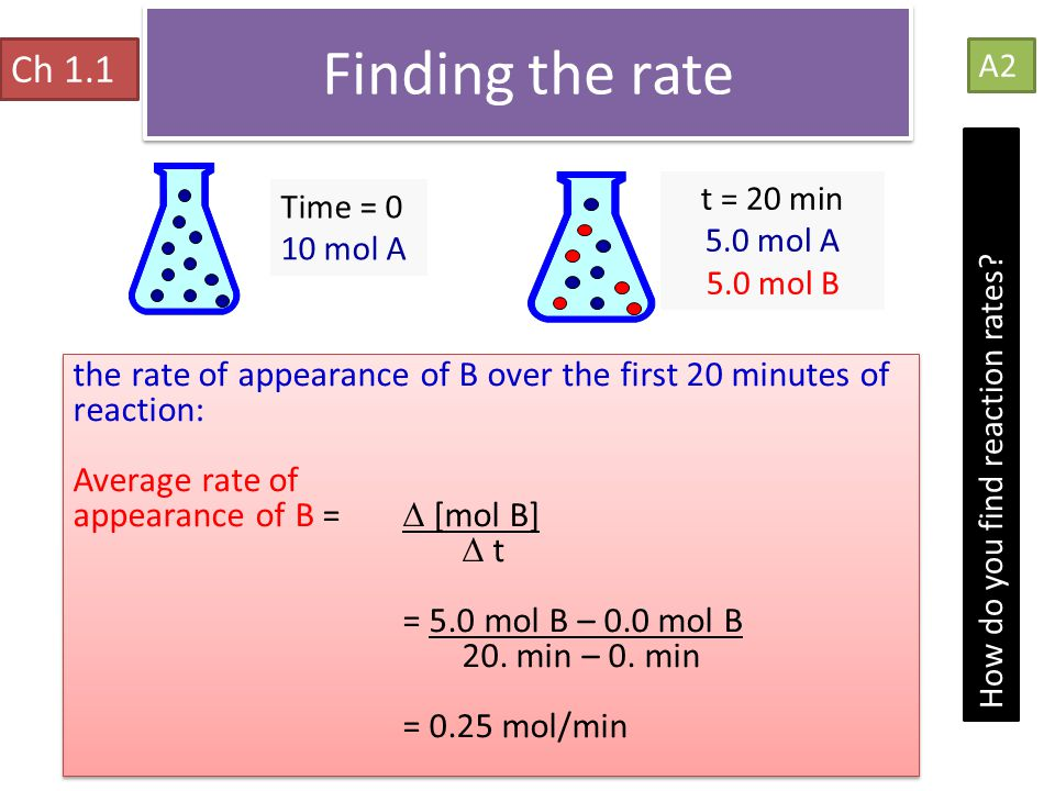 Finding the rate Ch 1.1. A2. t = 20 min. 5.0 mol A. 5.0 mol B. Time = 0. 10 mol A.