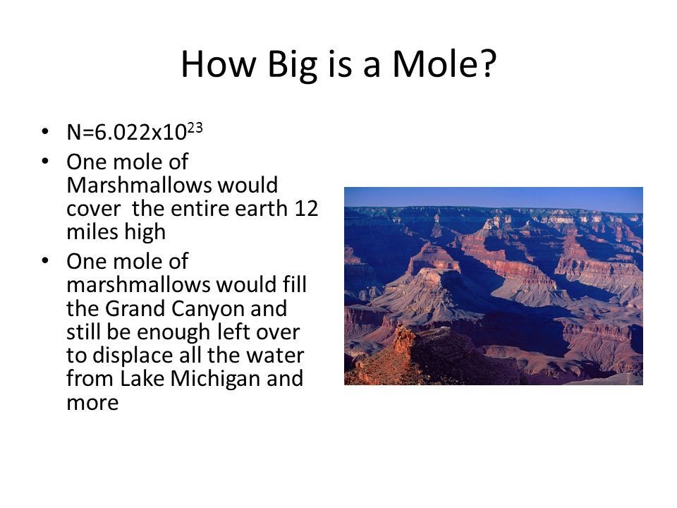 How Big is a Mole N=6.022x1023. One mole of Marshmallows would cover the entire earth 12 miles high.