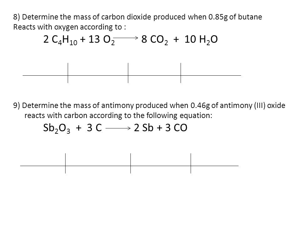 8) Determine the mass of carbon dioxide produced when 0.85g of butane