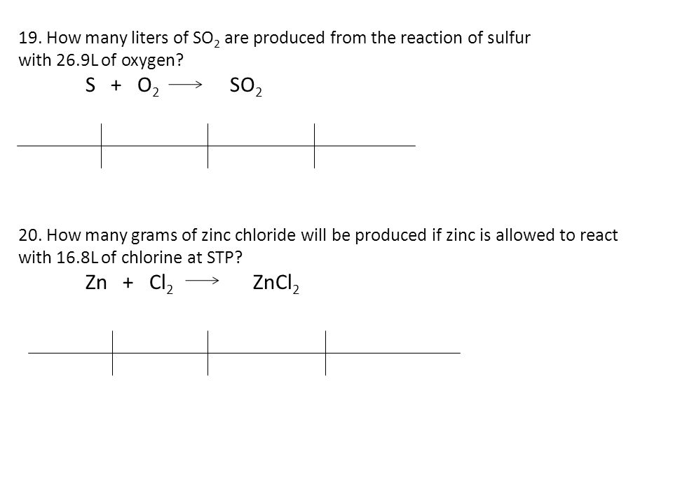 19. How many liters of SO2 are produced from the reaction of sulfur