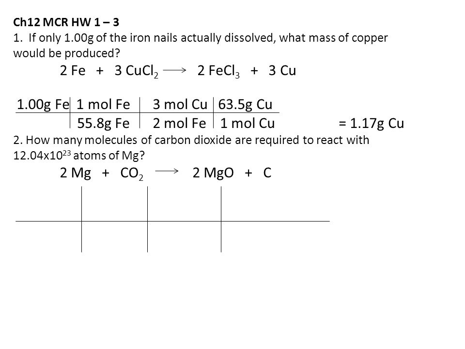 Ch12 MCR HW 1 – 3 1. If only 1.00g of the iron nails actually dissolved, what mass of copper. would be produced