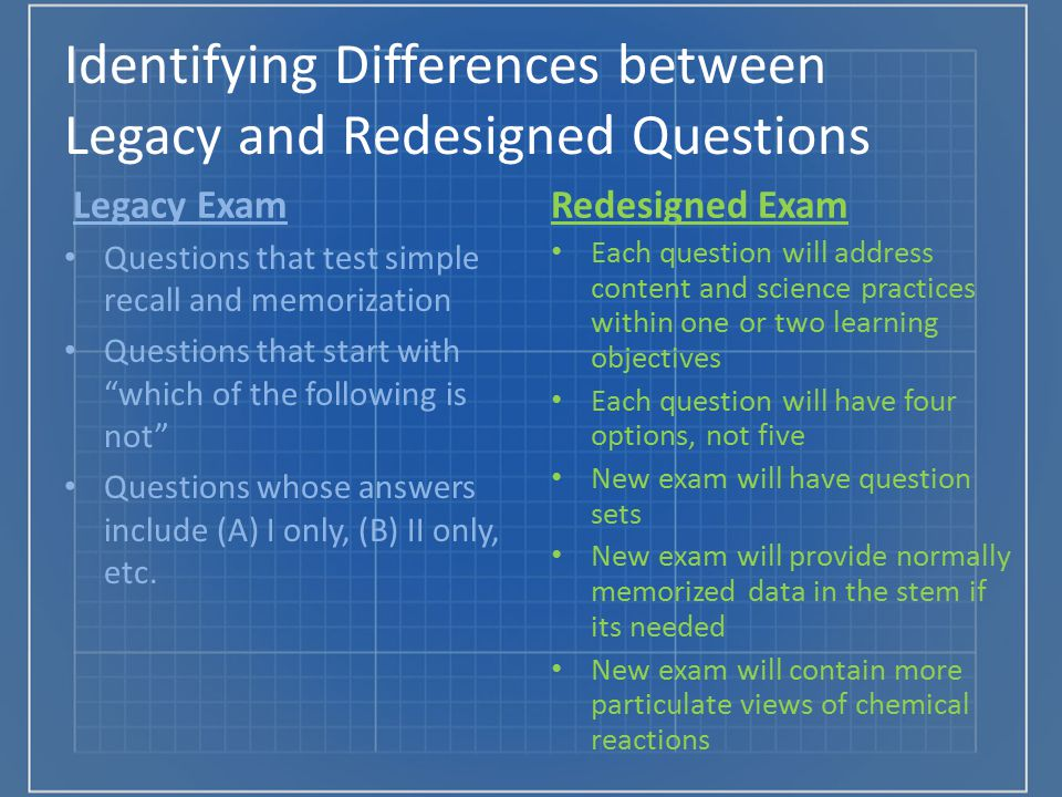 Identifying Differences between Legacy and Redesigned Questions