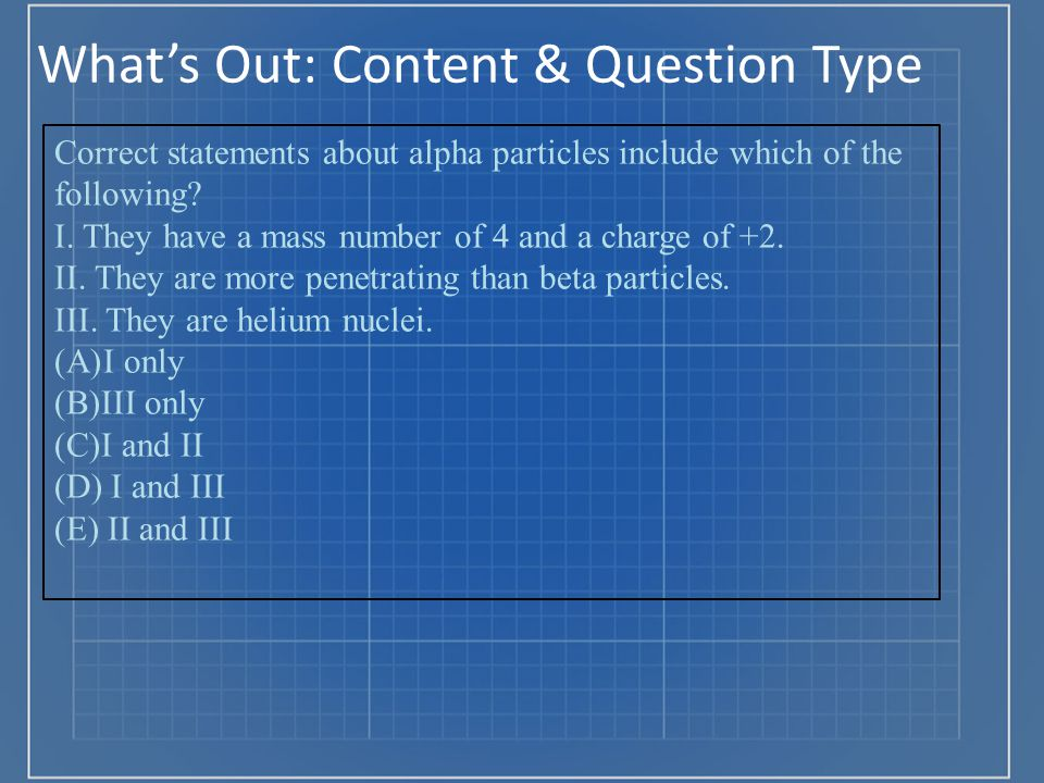 What's Out: Content & Question Type