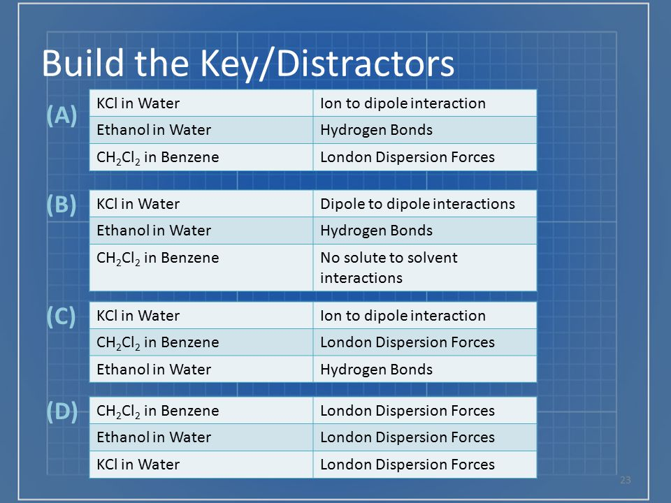 Build the Key/Distractors