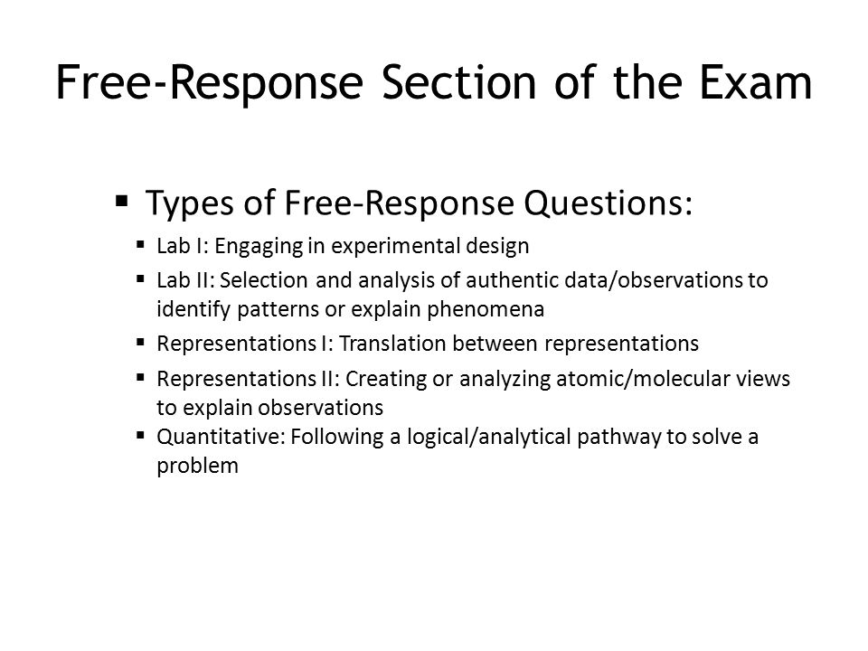Free-Response Section of the Exam