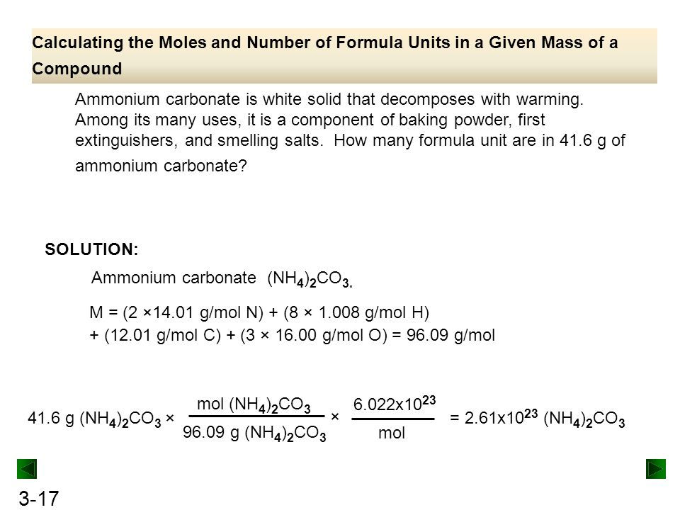 Calculating the Moles and Number of Formula Units in a Given Mass of a Compound