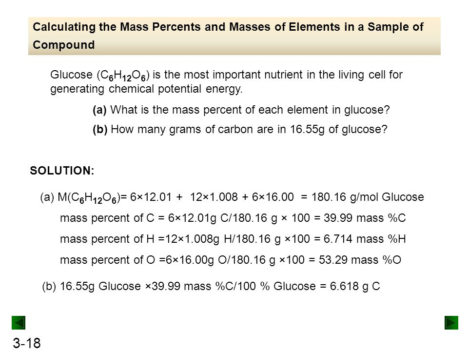 Calculating the Mass Percents and Masses of Elements in a Sample of Compound
