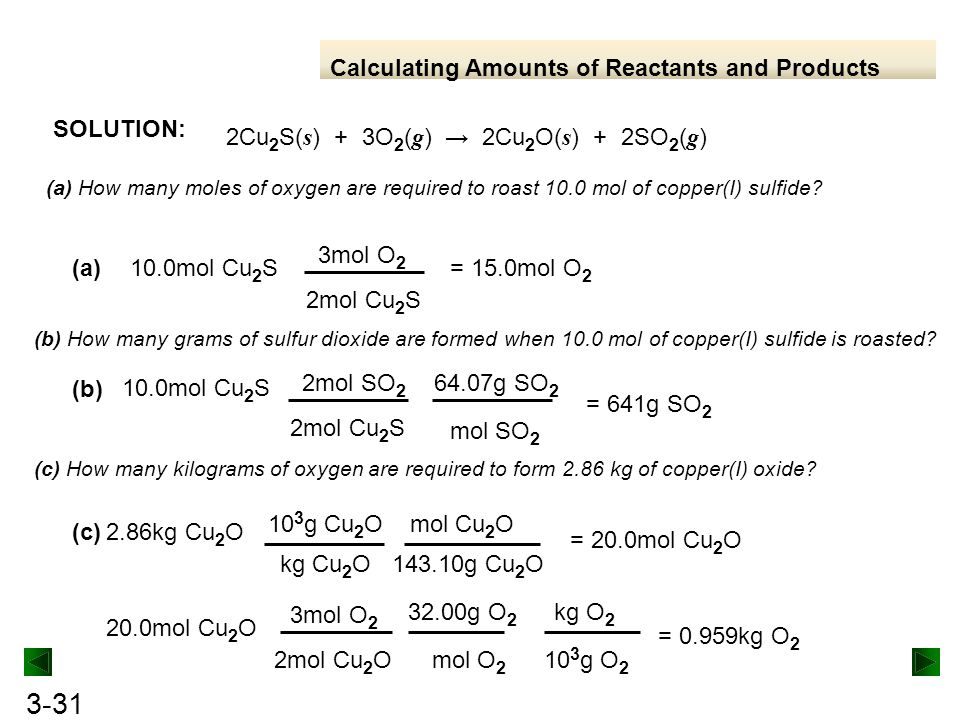 Calculating Amounts of Reactants and Products