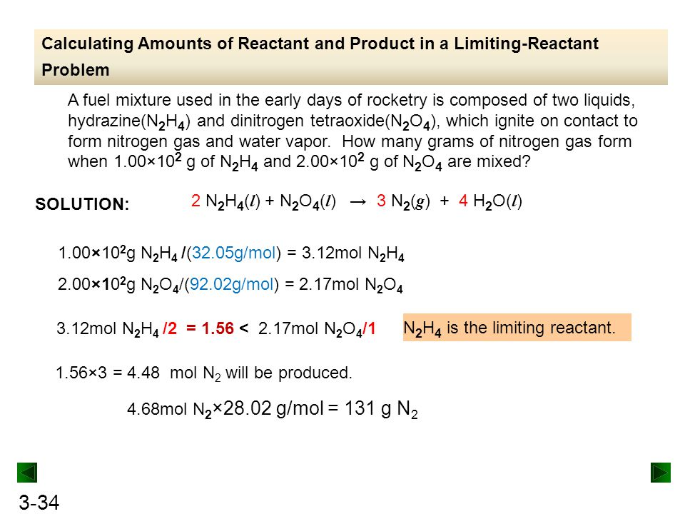 Calculating Amounts of Reactant and Product in a Limiting-Reactant Problem