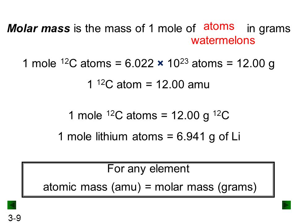 Molar mass is the mass of 1 mole of in grams watermelons