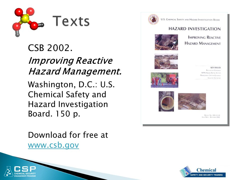 Texts CSB 2002. Improving Reactive Hazard Management.