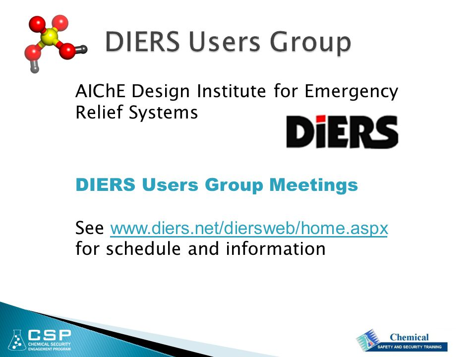 DIERS Users Group AIChE Design Institute for Emergency Relief Systems