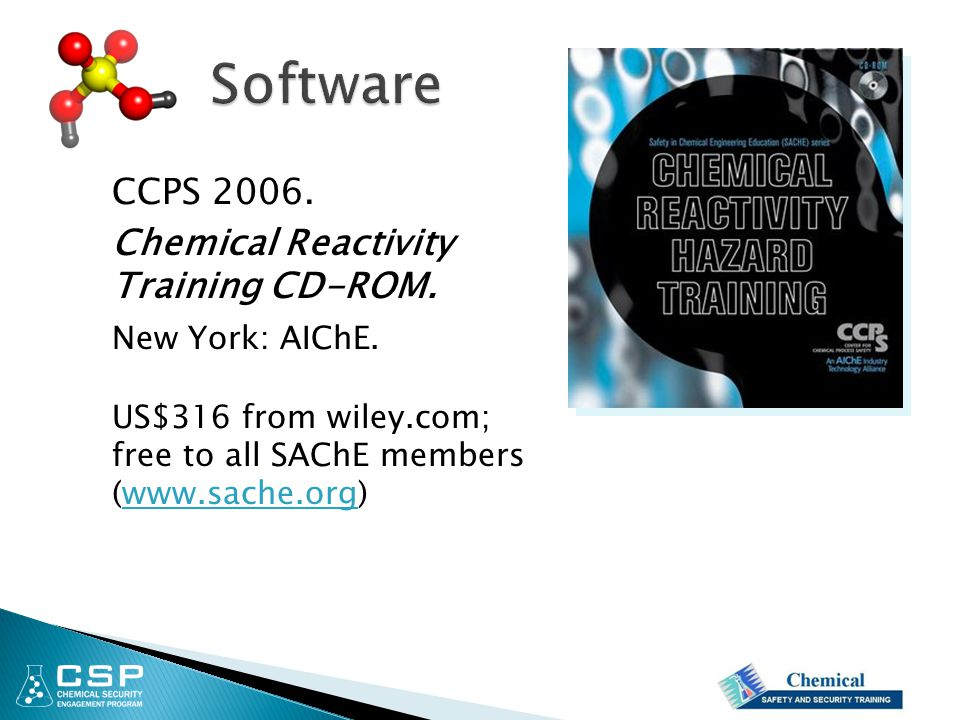Software CCPS 2006. Chemical Reactivity Training CD-ROM.