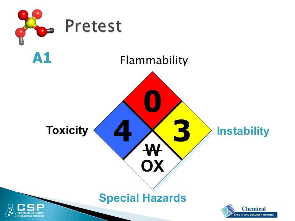 Pretest A1 Flammability 4 3 Toxicity Instability W OX Special Hazards
