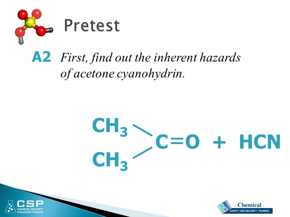 Pretest A2 First, find out the inherent hazards of acetone cyanohydrin. CH3 C O + HCN CH3