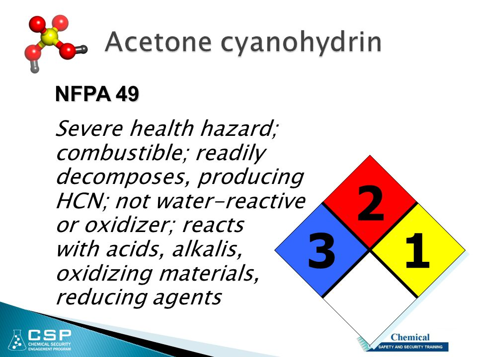 Acetone cyanohydrin NFPA 49. Severe health hazard; combustible; readily decomposes, producing. HCN; not water-reactive.