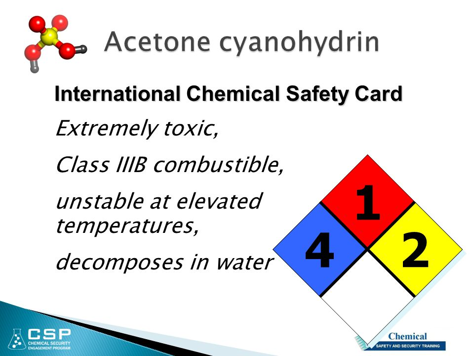 1 4 2 Acetone cyanohydrin Extremely toxic, Class IIIB combustible,