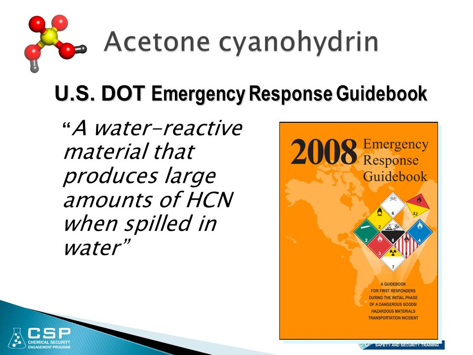 Acetone cyanohydrin U.S. DOT Emergency Response Guidebook