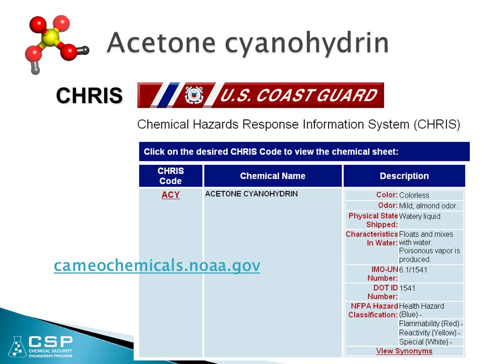 Acetone cyanohydrin CHRIS cameochemicals.noaa.gov