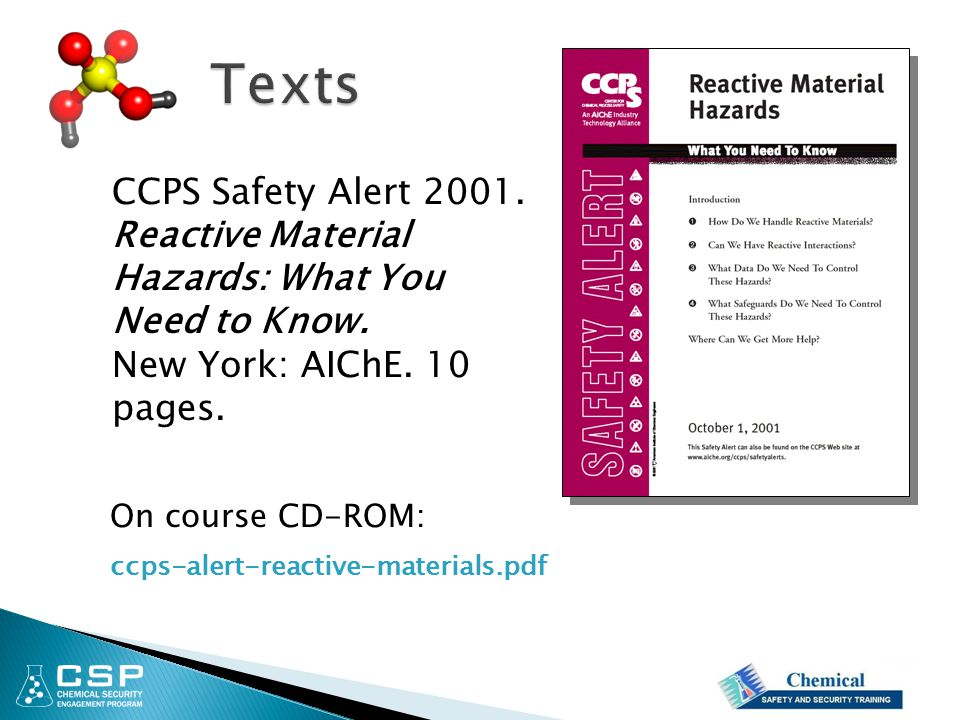 Texts CCPS Safety Alert 2001.
