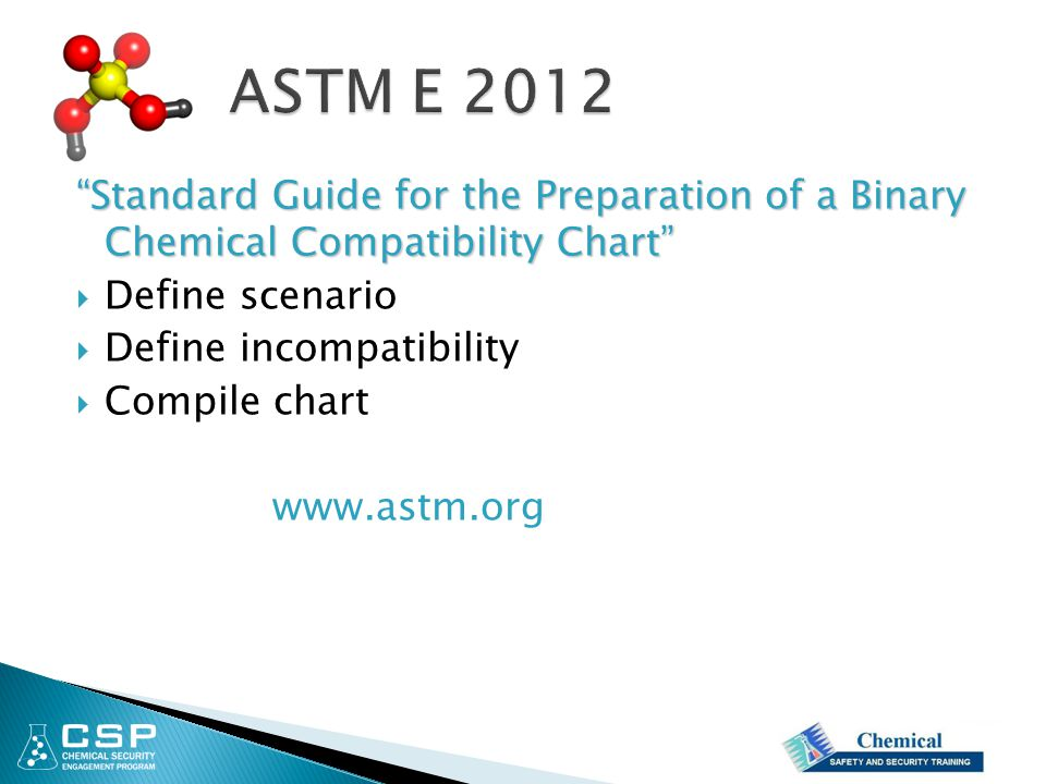 ASTM E 2012 Standard Guide for the Preparation of a Binary Chemical Compatibility Chart Define scenario.