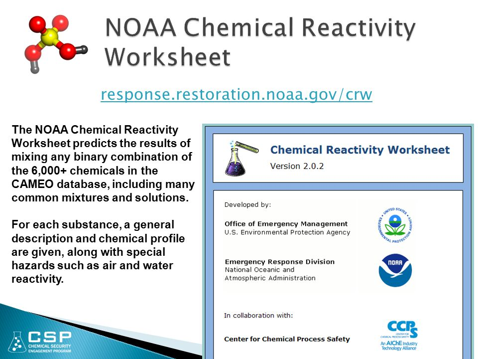 NOAA Chemical Reactivity Worksheet