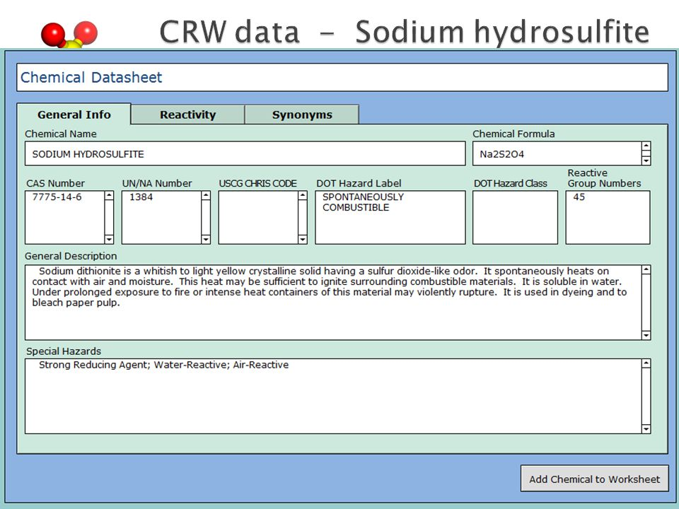 CRW data - Sodium hydrosulfite