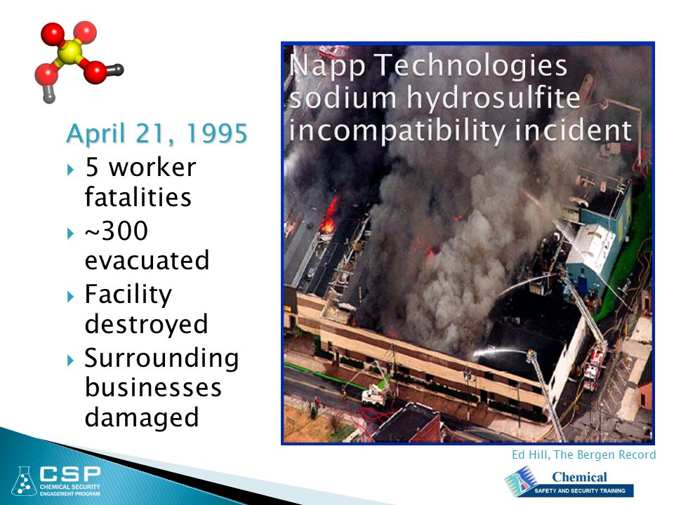 Napp Technologies sodium hydrosulfite incompatibility incident