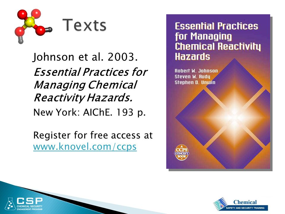 Texts Essential Practices for Managing Chemical Reactivity Hazards.