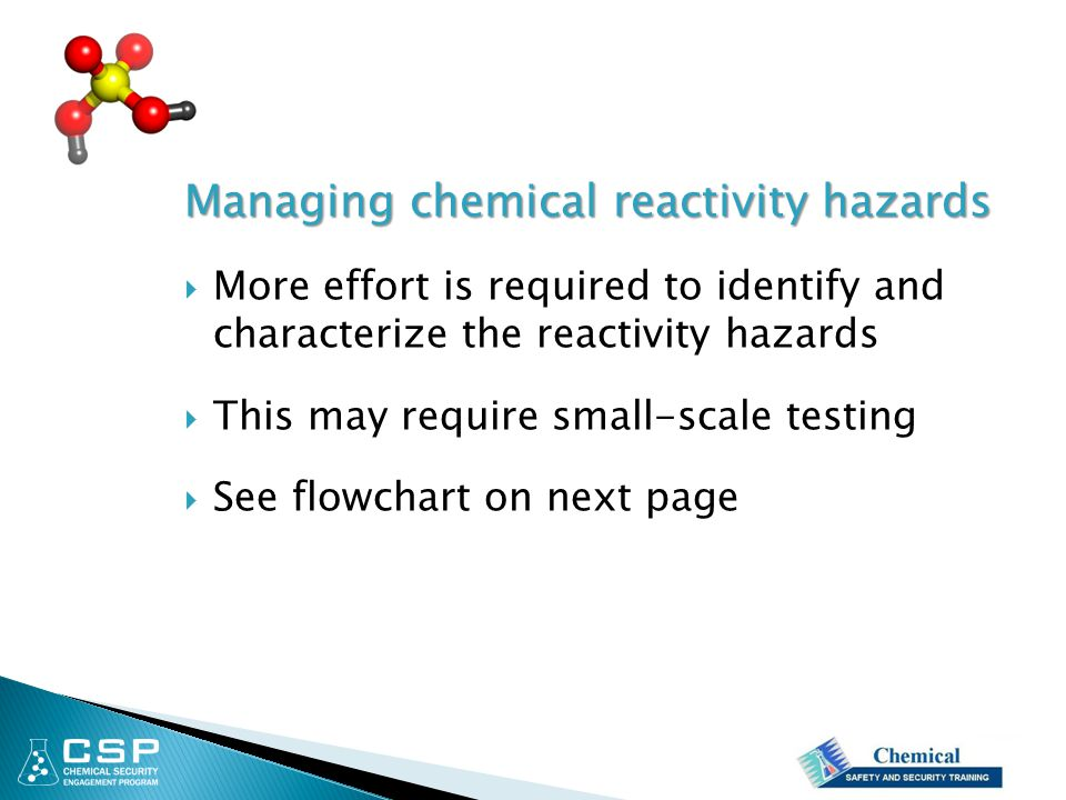 Managing chemical reactivity hazards
