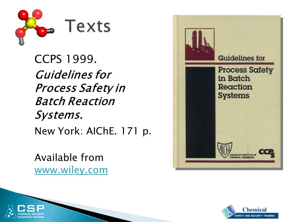 Texts CCPS 1999. Guidelines for Process Safety in