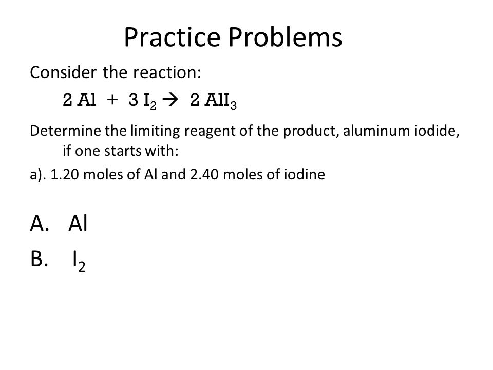 limiting reagent practice problems pdf