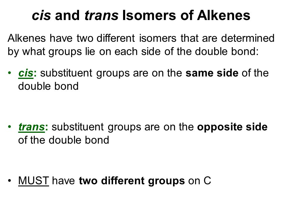 cis and trans Isomers of Alkenes