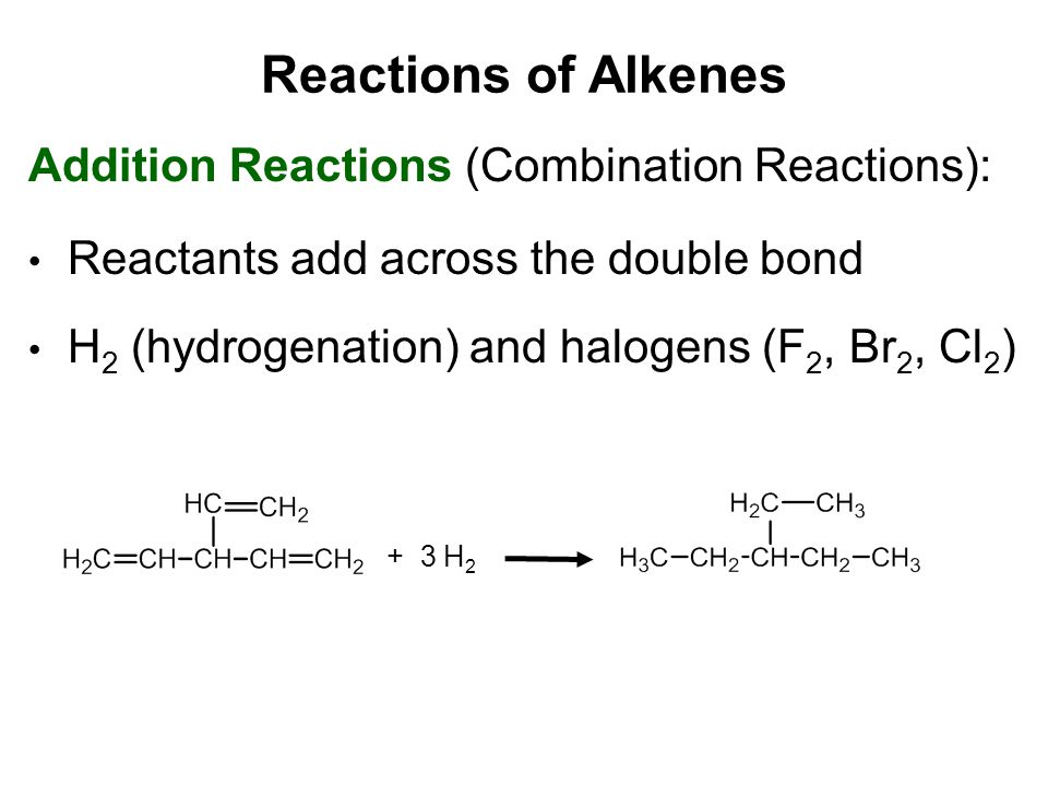 Reactions of Alkenes Addition Reactions (Combination Reactions):