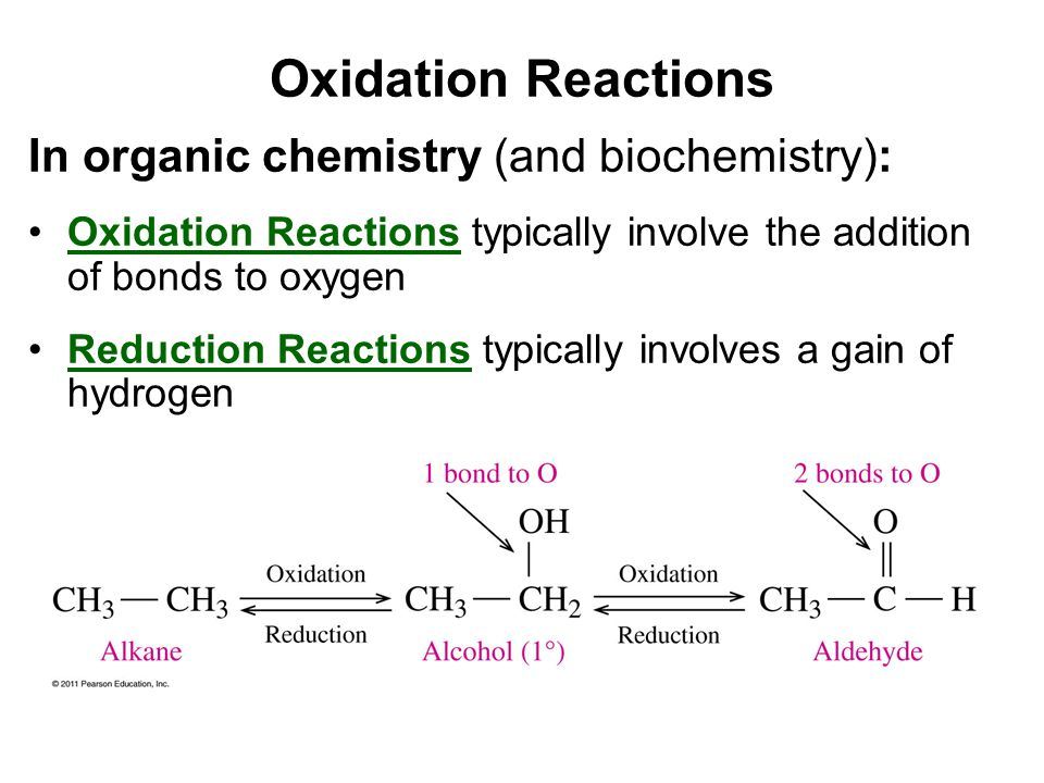 Oxidation Reactions In organic chemistry (and biochemistry):