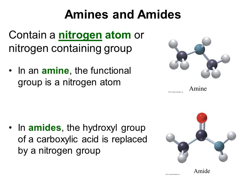 Amines and Amides Contain a nitrogen atom or nitrogen containing group