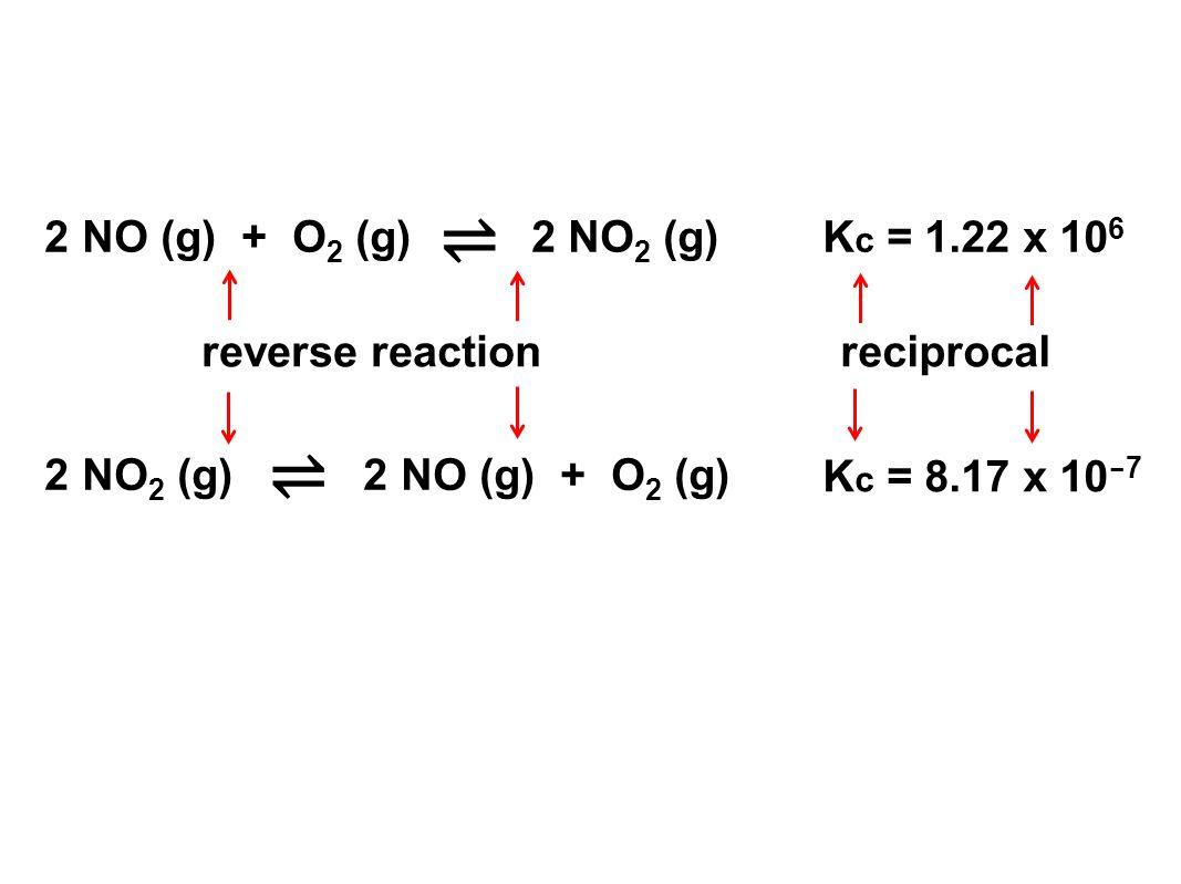 ⇌ ⇌ 2 NO (g) + O2 (g) 2 NO2 (g) Kc = 1.22 x 106 reverse reaction
