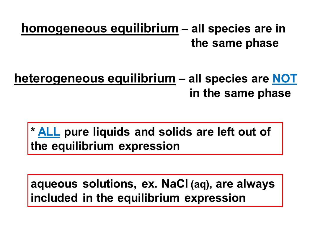 homogeneous equilibrium – all species are in the same phase