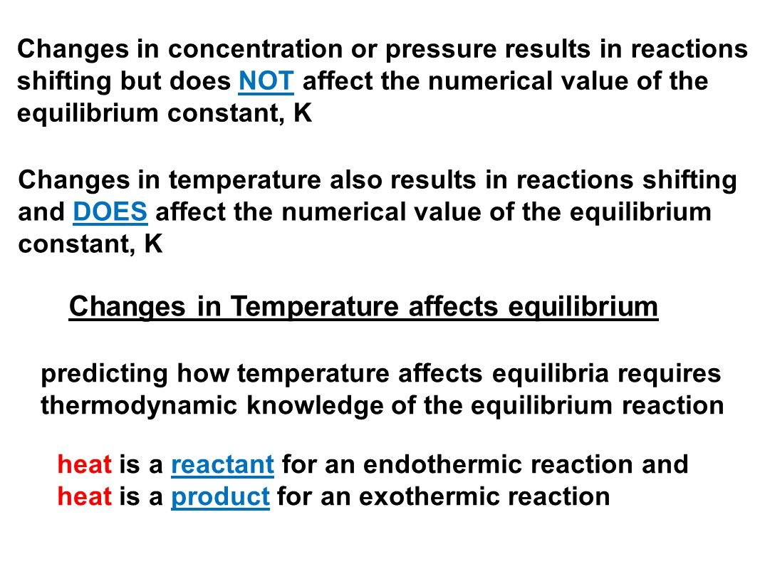 Changes in Temperature affects equilibrium