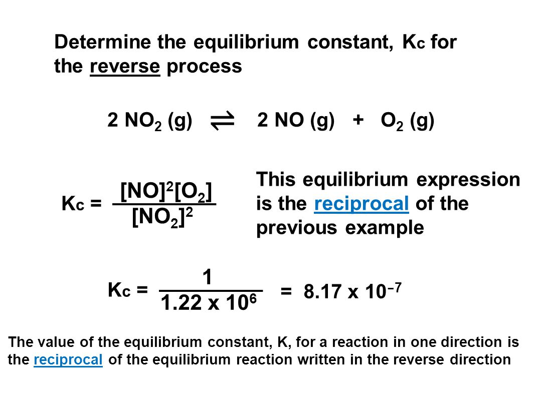 Determine the equilibrium constant, Kc for the reverse process