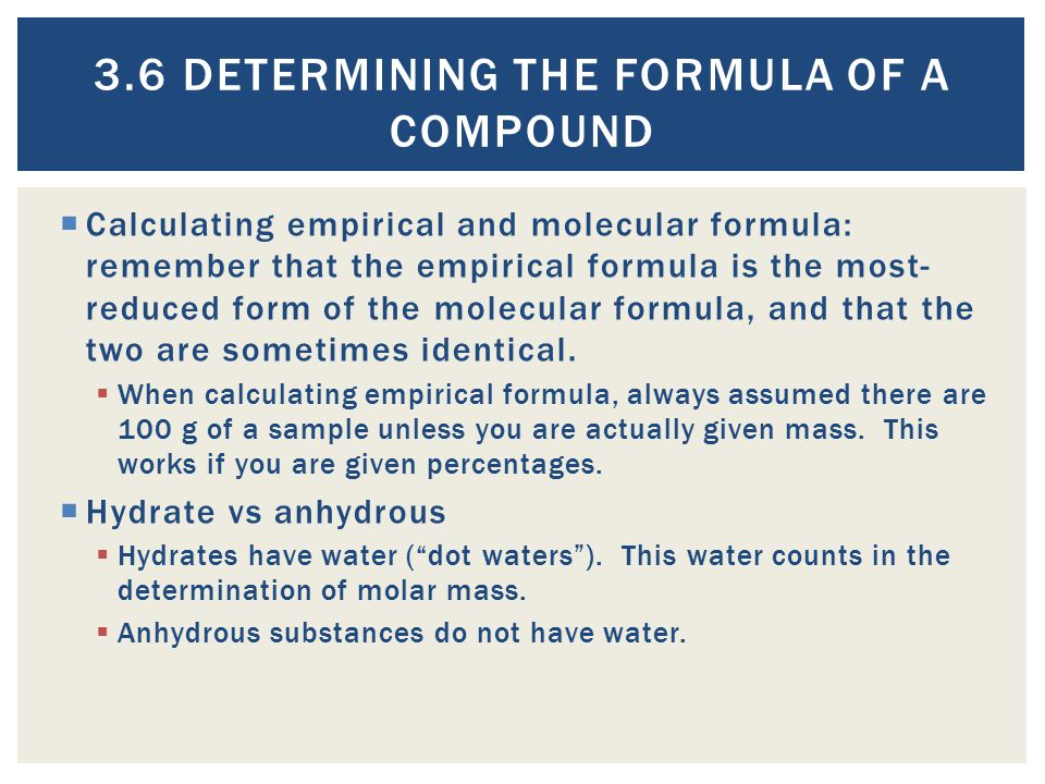 3.6 Determining the Formula of a Compound