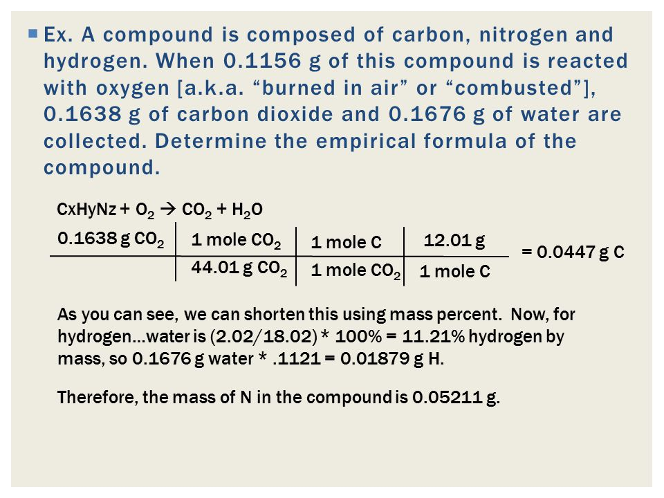 Ex. A compound is composed of carbon, nitrogen and hydrogen. When 0