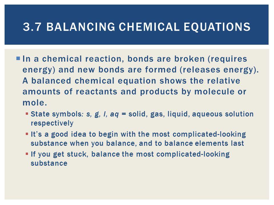3.7 Balancing Chemical Equations