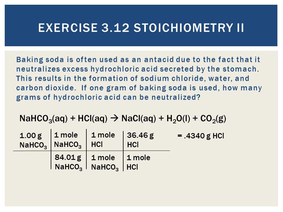 Exercise 3.12 Stoichiometry II