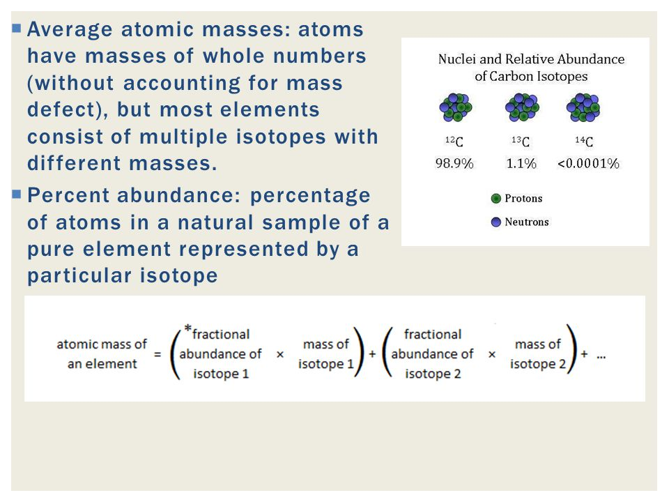 Average atomic masses: atoms have masses of whole numbers (without accounting for mass defect), but most elements consist of multiple isotopes with different masses.