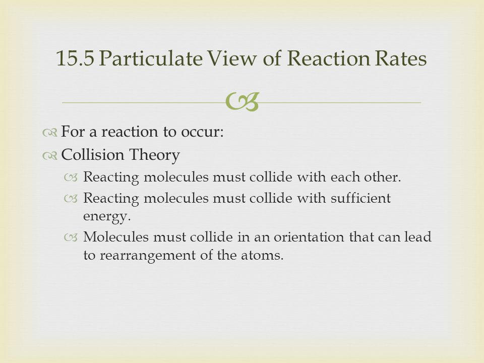15.5 Particulate View of Reaction Rates
